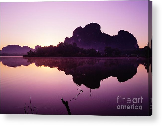 Sky Acrylic Print featuring the photograph Title The Peaceful Mountain by Pk Kaew