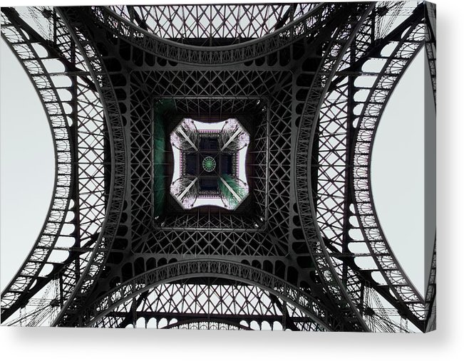 Eiffel Tower Acrylic Print featuring the photograph Underneath Of Eiffel Tower, Low Angle by Ed Freeman