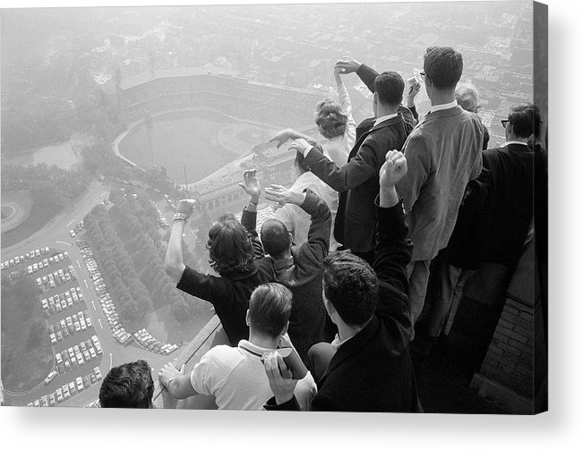 Timeincown Acrylic Print featuring the photograph Univ. Of Pittsburgh Students Cheering Wi by George Silk