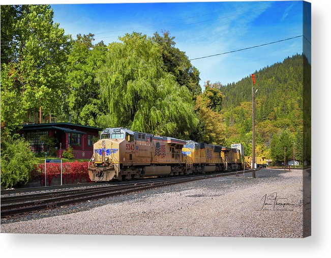 Freight Trains Acrylic Print featuring the photograph Up5343 by Jim Thompson