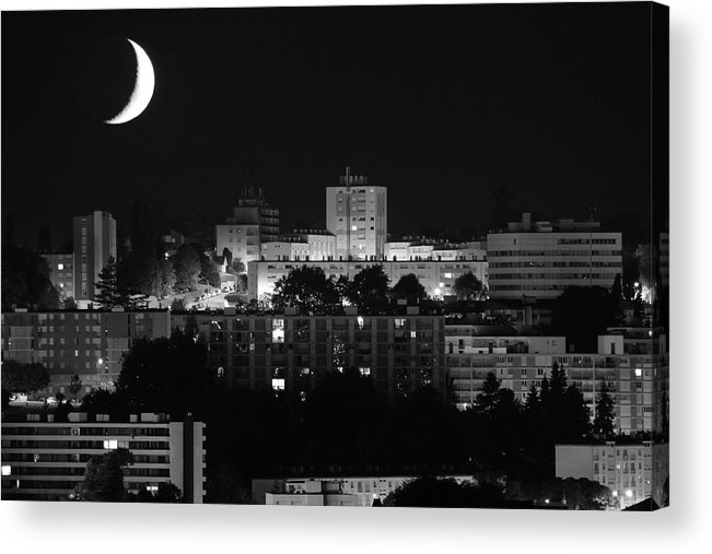 Outdoors Acrylic Print featuring the photograph Urban Moonset by I Hope You'll Like It