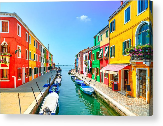 Panoramic Acrylic Print featuring the photograph Venice Landmark, Burano Island Canal by Stevanzz
