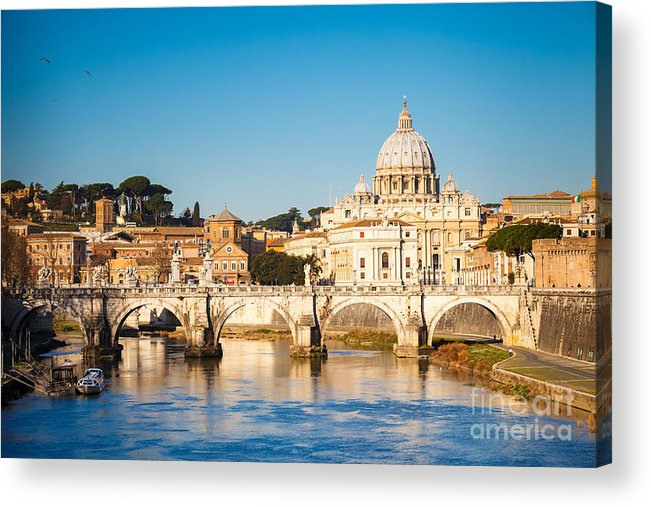 Symbol Acrylic Print featuring the photograph View At Tiber And St. Peters Cathedral by S.borisov