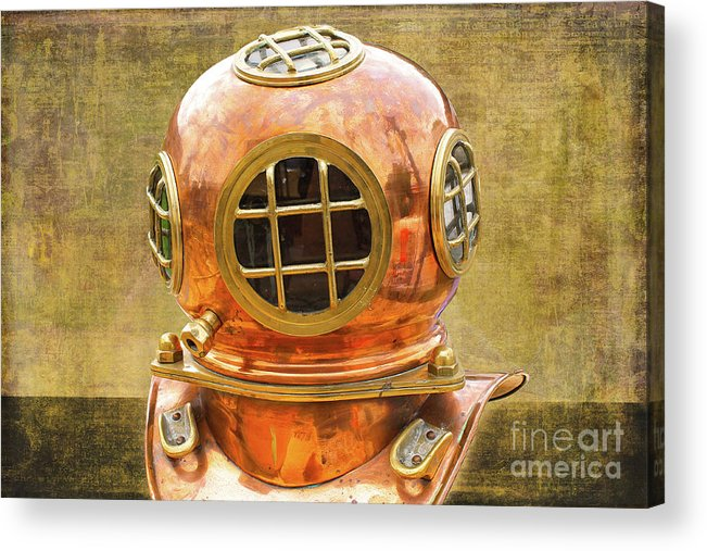 Vintage Acrylic Print featuring the photograph Vintage Diving Helmet by Nina Silver