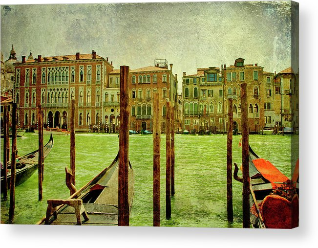 Grunge Acrylic Print featuring the digital art Vintage Grand Canal Panorama by Luisa Vallon Fumi