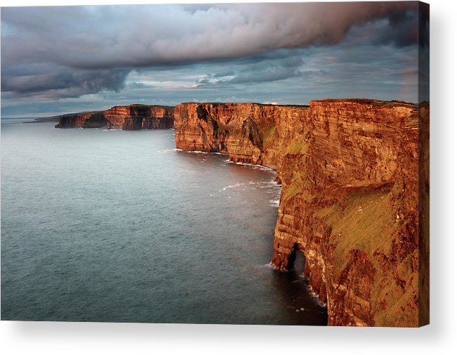 Scenics Acrylic Print featuring the photograph Waves Washing Up On Rocky Cliffs by George Karbus Photography