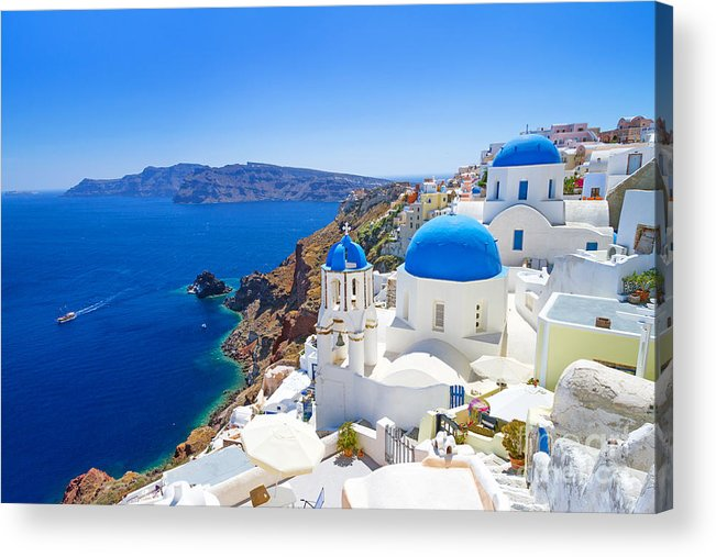 Beauty Acrylic Print featuring the photograph White Architecture Of Oia Village On by Patryk Kosmider