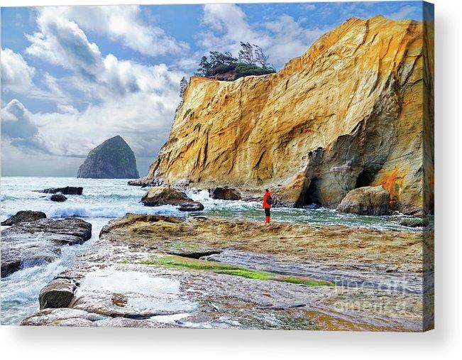 Woman Acrylic Print featuring the photograph ocean cliffs Cape Kiwanda Pacific City Oregon USA by Robert C Paulson Jr