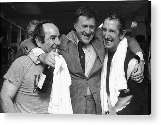 American League Baseball Acrylic Print featuring the photograph Yankees Owner George Steinbrenner Hugs by New York Daily News Archive
