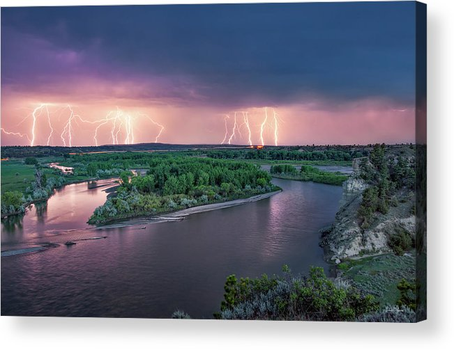 Cliffs Acrylic Print featuring the photograph Yellowstone River Lightning by Leland D Howard