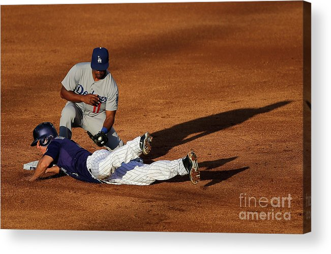 Game Two Acrylic Print featuring the photograph Nick Hundley And Jimmy Rollins by Doug Pensinger