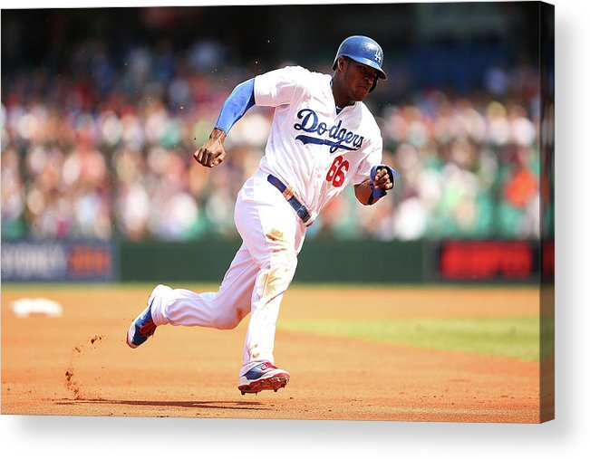 Los Angeles Dodgers Acrylic Print featuring the photograph Yasiel Puig by Brendon Thorne