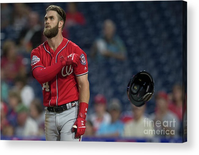 Game Two Acrylic Print featuring the photograph Bryce Harper by Mitchell Leff