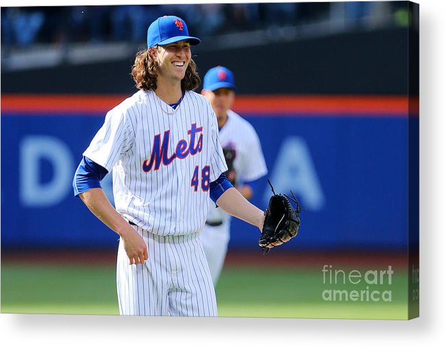 Jacob Degrom Acrylic Print featuring the photograph Jacob Degrom by Mike Stobe