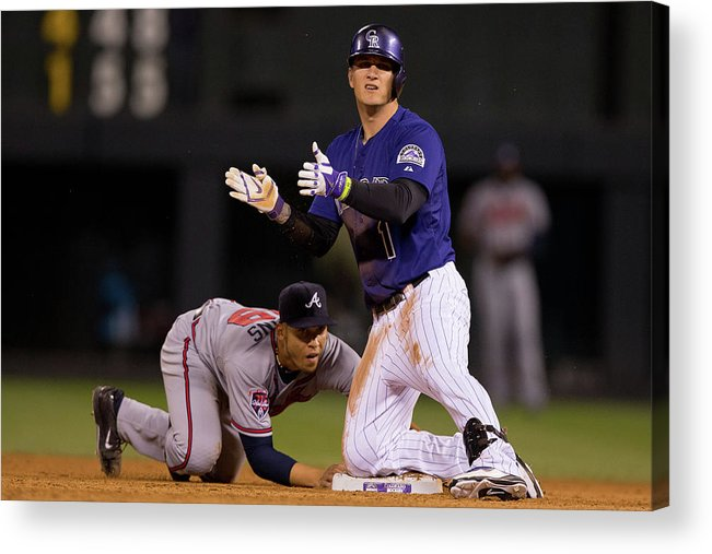 Celebration Acrylic Print featuring the photograph Andrelton Simmons And Brandon Barnes by Justin Edmonds