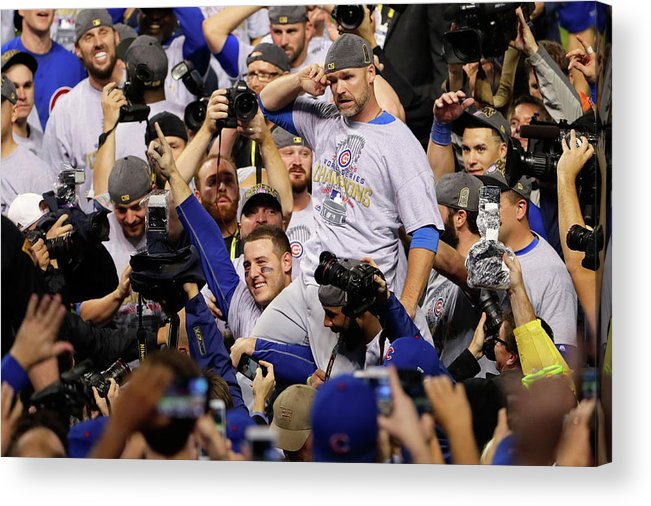 American League Baseball Acrylic Print featuring the photograph Anthony Rizzo, David Ross, And Jason Heyward by Jamie Squire