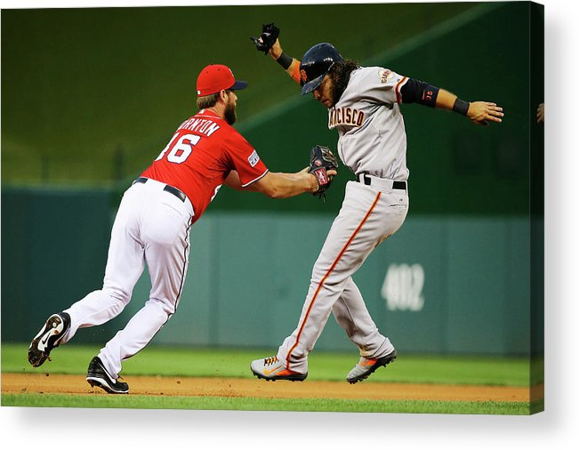 National League Baseball Acrylic Print featuring the photograph Brandon Crawford And Matt Thornton by Al Bello
