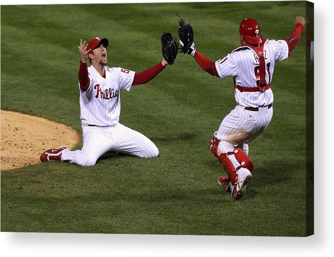 Carlos Ruiz Acrylic Print featuring the photograph Carlos Ruiz And Brad Lidge by Jim Mcisaac