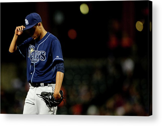 Second Inning Acrylic Print featuring the photograph Chris Davis And Chris Archer by Patrick Smith