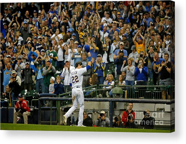 Crowd Acrylic Print featuring the photograph Christian Yelich by Jon Durr