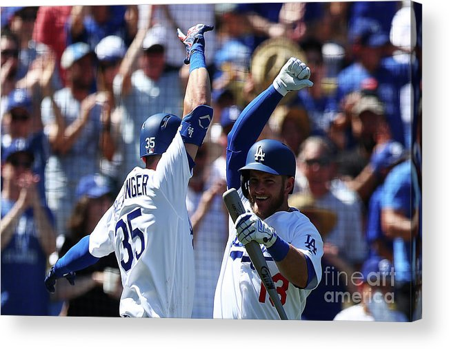 American League Baseball Acrylic Print featuring the photograph Cody Bellinger And Max Muncy by Yong Teck Lim