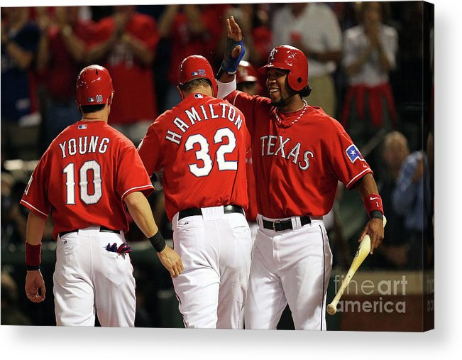Playoffs Acrylic Print featuring the photograph Elvis Andrus, Michael Young, And Josh Hamilton by Ronald Martinez