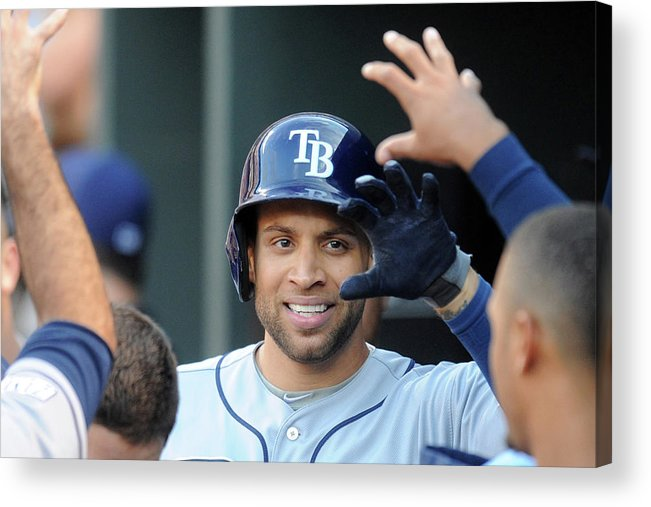 Game Two Acrylic Print featuring the photograph James Loney by Mitchell Layton