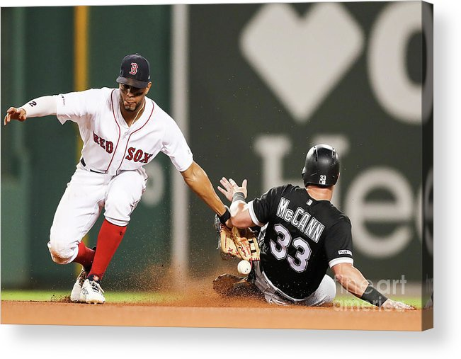 People Acrylic Print featuring the photograph James Mccann And Xander Bogaerts by Adam Glanzman