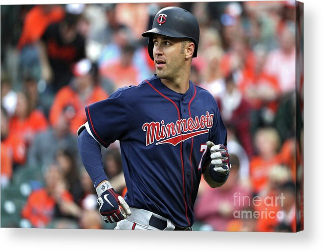 Looking Over Shoulder Acrylic Print featuring the photograph Joe Mauer by Patrick Smith