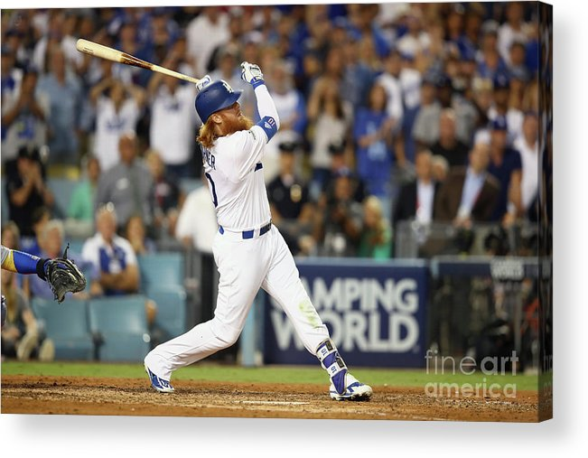 Game Two Acrylic Print featuring the photograph Justin Turner by Ezra Shaw