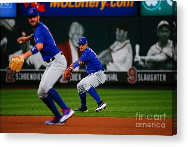 People Acrylic Print featuring the photograph Kris Bryant And Javier Baez by Dilip Vishwanat