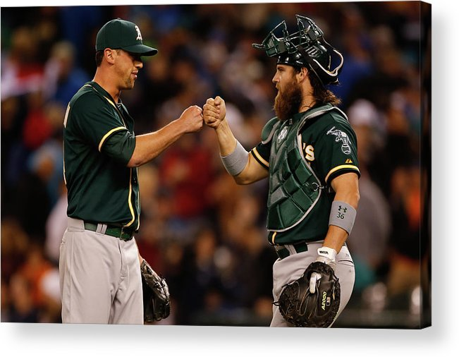 American League Baseball Acrylic Print featuring the photograph Luke Gregerson And Derek Norris by Otto Greule Jr