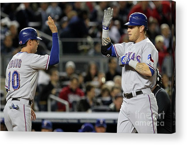 Playoffs Acrylic Print featuring the photograph Michael Young And Josh Hamilton by Al Bello