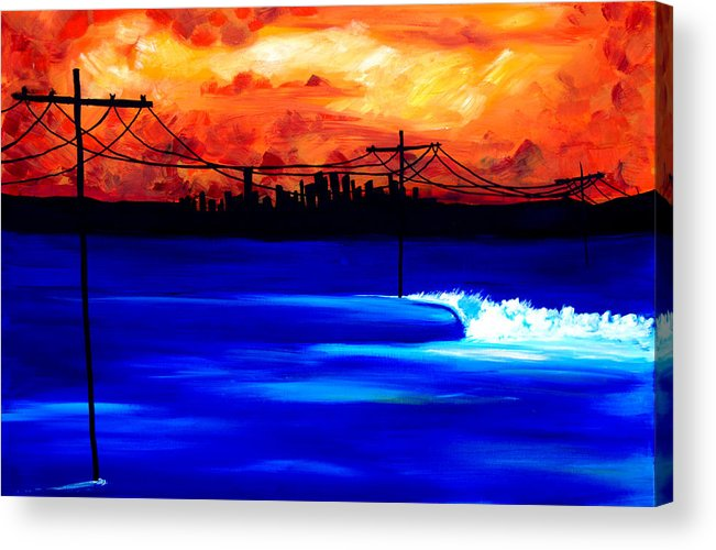 Power Trip Was Created To Mix Urban And Aquatic Scenery. I Was Inspired To Put Power Lines In For Showing Our Future State Of Global Warming. Surf Art Waves. Acrylic Print featuring the painting Power Trip - Surf Art by Nathan Paul Gibbs