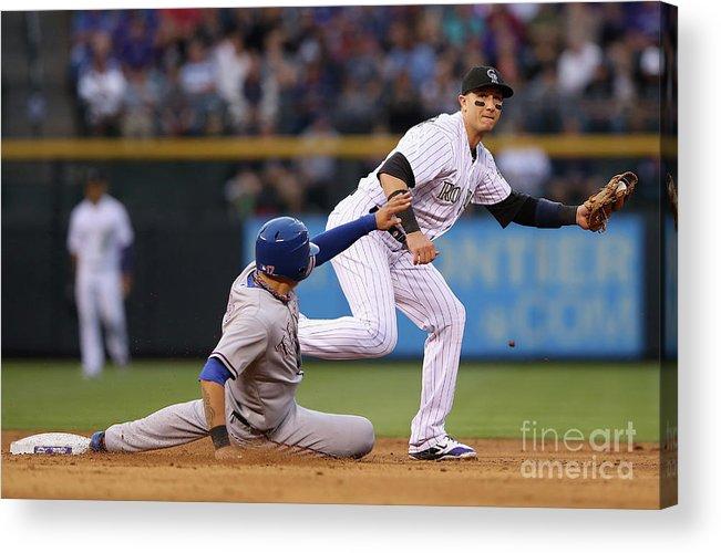 American League Baseball Acrylic Print featuring the photograph Shin-soo Choo And Troy Tulowitzki by Doug Pensinger