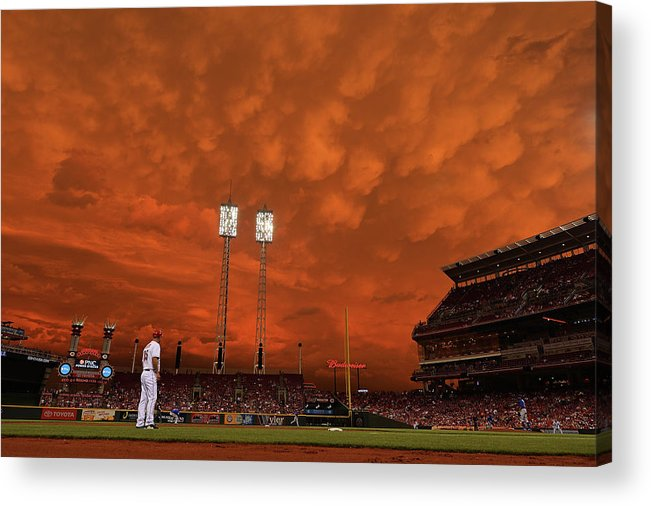 Great American Ball Park Acrylic Print featuring the photograph Starlin Castro by Jamie Sabau