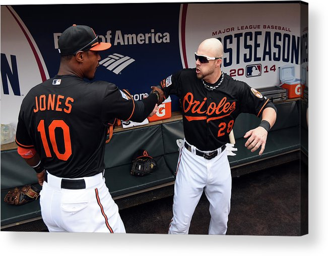 Game Two Acrylic Print featuring the photograph Steve Pearce And Adam Jones by Patrick Smith