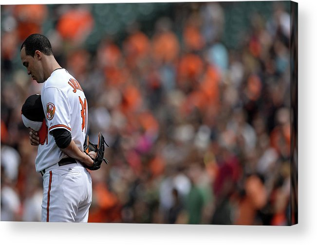 American League Baseball Acrylic Print featuring the photograph Ubaldo Jimenez by Patrick Smith