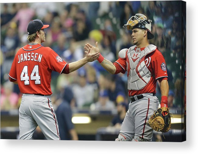 Three Quarter Length Acrylic Print featuring the photograph Wilson Ramos And Casey Janssen by Mike Mcginnis