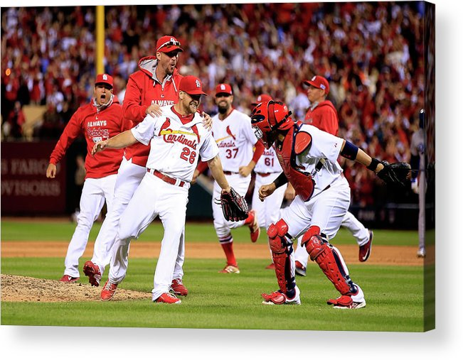 St. Louis Cardinals Acrylic Print featuring the photograph Yadier Molina And Trevor Rosenthal by Jamie Squire