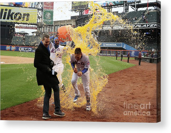Yoenis Cespedes Acrylic Print featuring the photograph Yoenis Cespedes And Wilmer Flores by Al Bello
