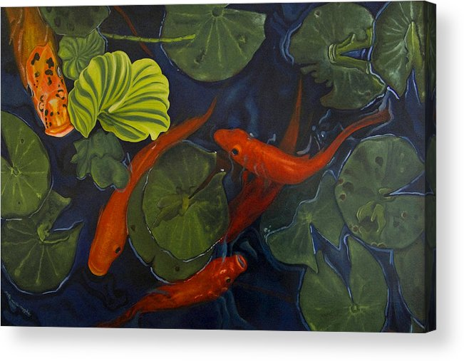 Painting Acrylic Print featuring the painting Koi Ballet by Peter Muzyka