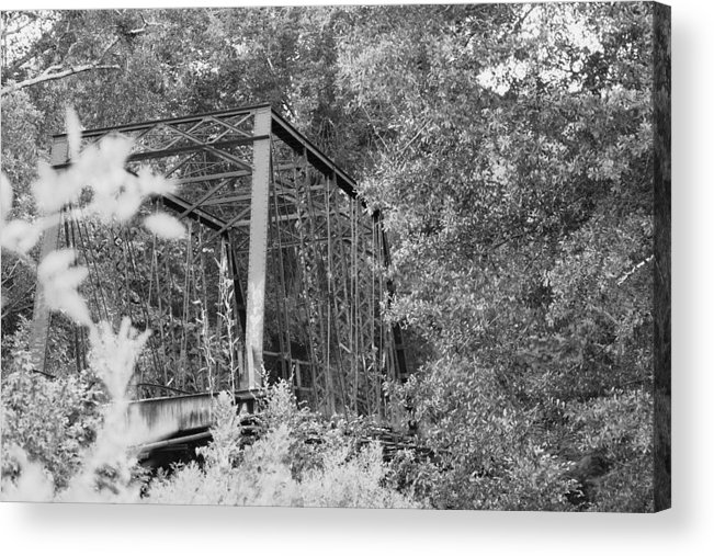 Bridge Acrylic Print featuring the photograph Bridge In Black And White by Lisa Johnston
