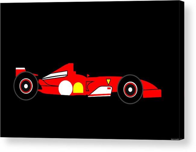 Ferrari Acrylic Print featuring the digital art Formula One Ferrari by Asbjorn Lonvig