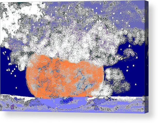 Acrylic Print featuring the digital art Moon Sinks Into Ocean by Beebe Barksdale-Bruner