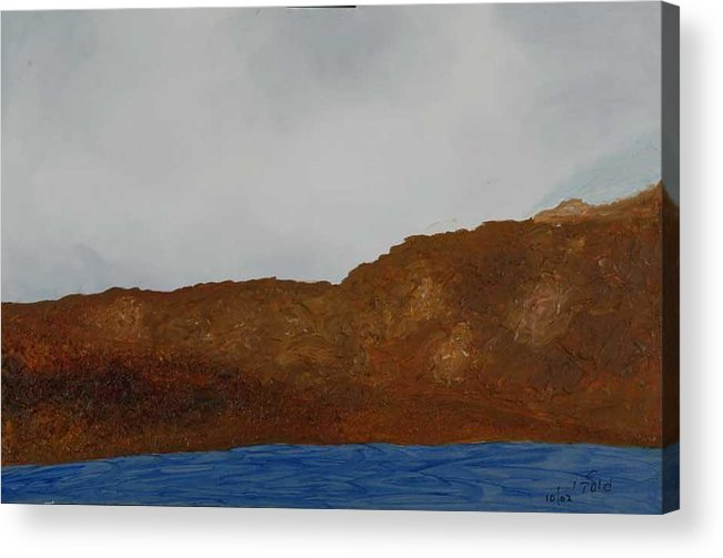 Water Acrylic Print featuring the painting Water Mountain And Sky  by Harris Gulko
