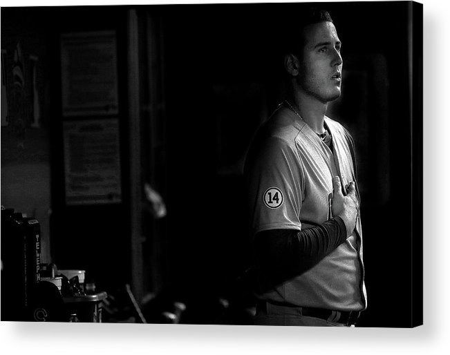 People Acrylic Print featuring the photograph Chicago Cubs V Miami Marlins by Mike Ehrmann