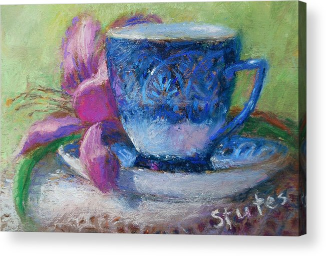 Still Life Acrylic Print featuring the drawing Coffee And Flowers by Nancy Stutes