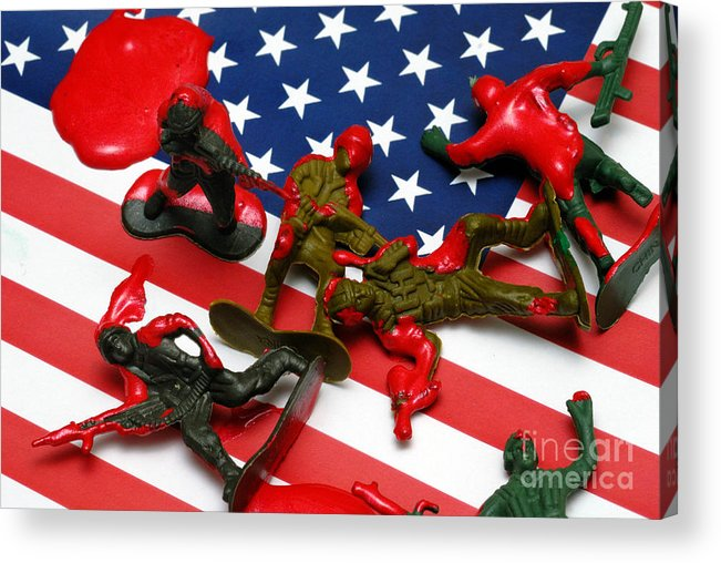 Against The War Acrylic Print featuring the photograph Fallen Toy Soliders On American Flag by Amy Cicconi