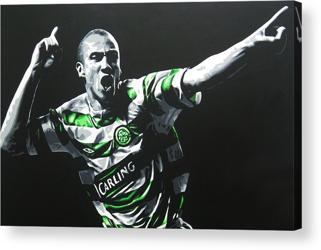 Henrik Larsson Acrylic Print featuring the painting Henrik Larsson - Celtic Fc by Geo Thomson